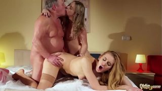 Old man fuck hard young hot girl and big ass mother