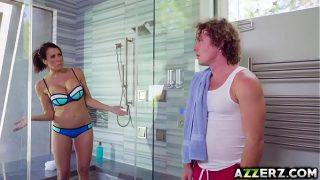 Azzarz xxx big tits busty milf mom shower sex with young son